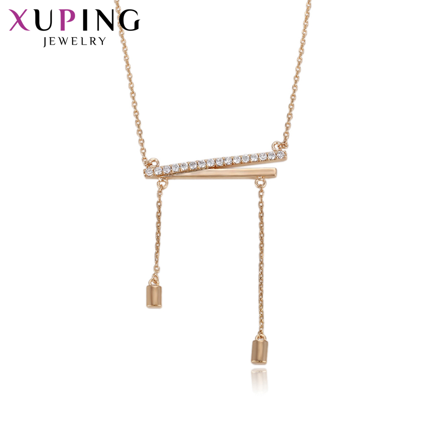 11.11 Deals Xuping Jewelry Fashion Newest Necklace Gold Color Plated Jewelry for Women N ...