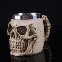 Creative Novelty Skull Figurines Resin Beer Mug Stainless Steel Mug Ornaments Water Cup Handgrip Cups Friends Halloween Gifts