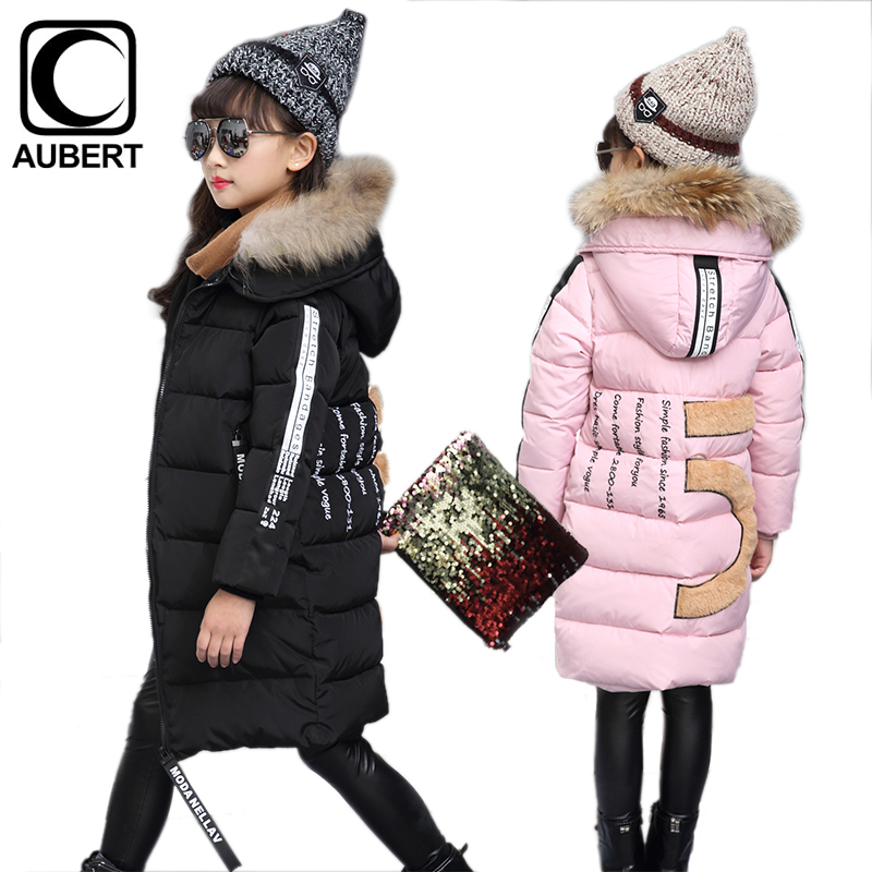 Girls Down Jacket Coat Winter New Long Section Kids Parkas Fur Collar Hooded Thick Warm Cotton Outerwear Children Clothing 10x10ft vinyl custom wood grain photography backdrops prop studio background tmw 20185