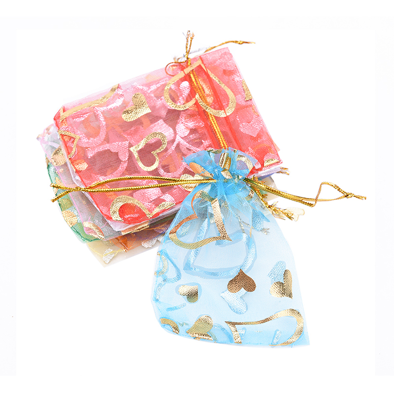 10pcs/lot Organza Gifts Bags Mixed Color Drawstring Bags Christmas Candy Bags Party Wedding Favors Packaging Pouch