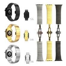 Chegada nova ligação pulseira para apple watch band cinta de aço inoxidável de luxo de alta qualidade 1:1 original cor prata & preto