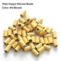 1000 stks 3.2*2.0*3.8mm Plaat edge koper siliconen Micro kralen Siliconen bekleed Links tube voor I tip Haarverlenging gereedschap