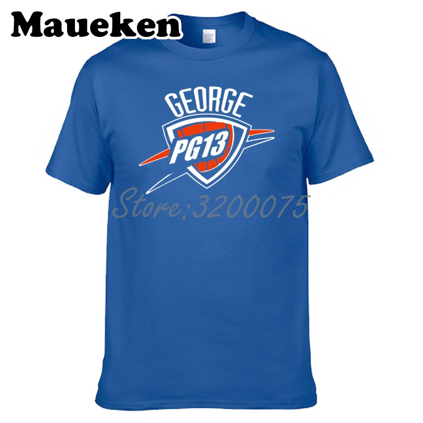 buy popular 53ffb 6c84c US $18.88 |Men PG13 Paul George 13 Oklahoma City T shirt Clothes T Shirt  Men's Tshirt For Fans Gift O Neck Tee W18091009-in T-Shirts from Men's ...