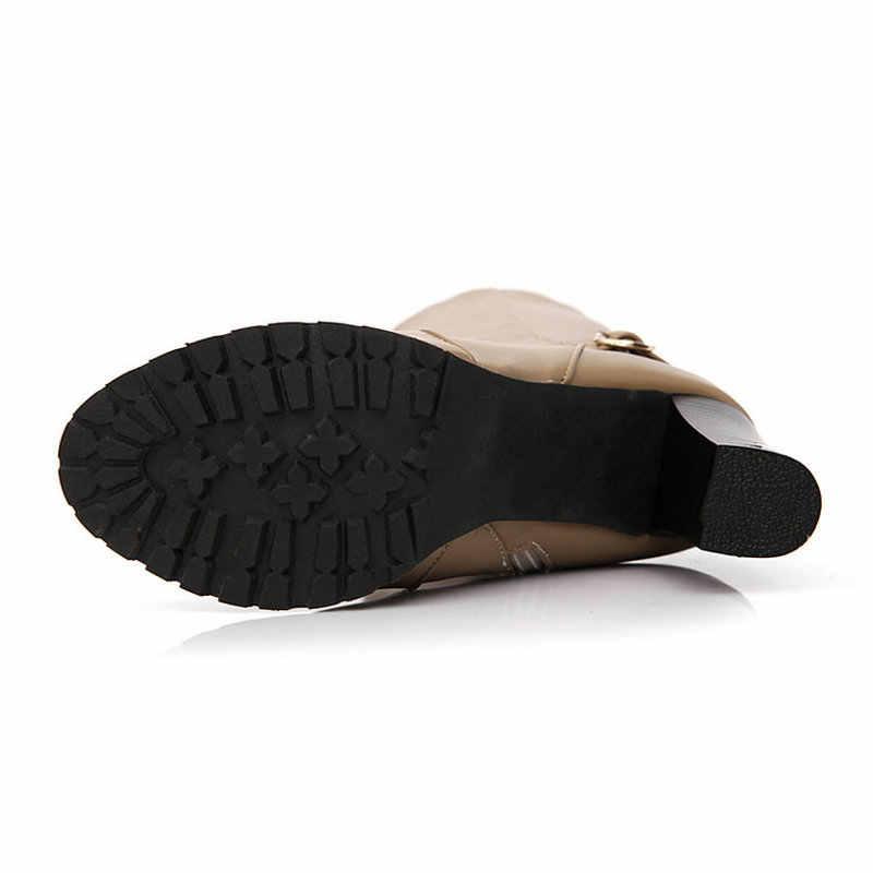 Kış sıcak Kürk Diz Yüksek Çizmeler Bayan Kar Botları Yüksek Topuklu Yan Fermuar kadın ayakkabısı Siyah Kahverengi Kayısı Büyük Boy