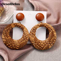 Fashion Geometric Round Drop Earring For Women Rattan Weave Braided Statement Dangle Earrings brincos Jewelry 2019 New