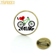 TAFREE Brand cute lovely I Love Cycling brooches high quality retro bronze plated bicycle bike sports men women badge pins SP421(China)