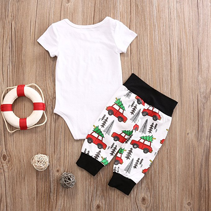 2PCS Child Jumpsuit Newborn Baby Boys Letter Print Romper+ Evergreen Tree Car Pattern Pants Outfit Set 2017 fashion new style