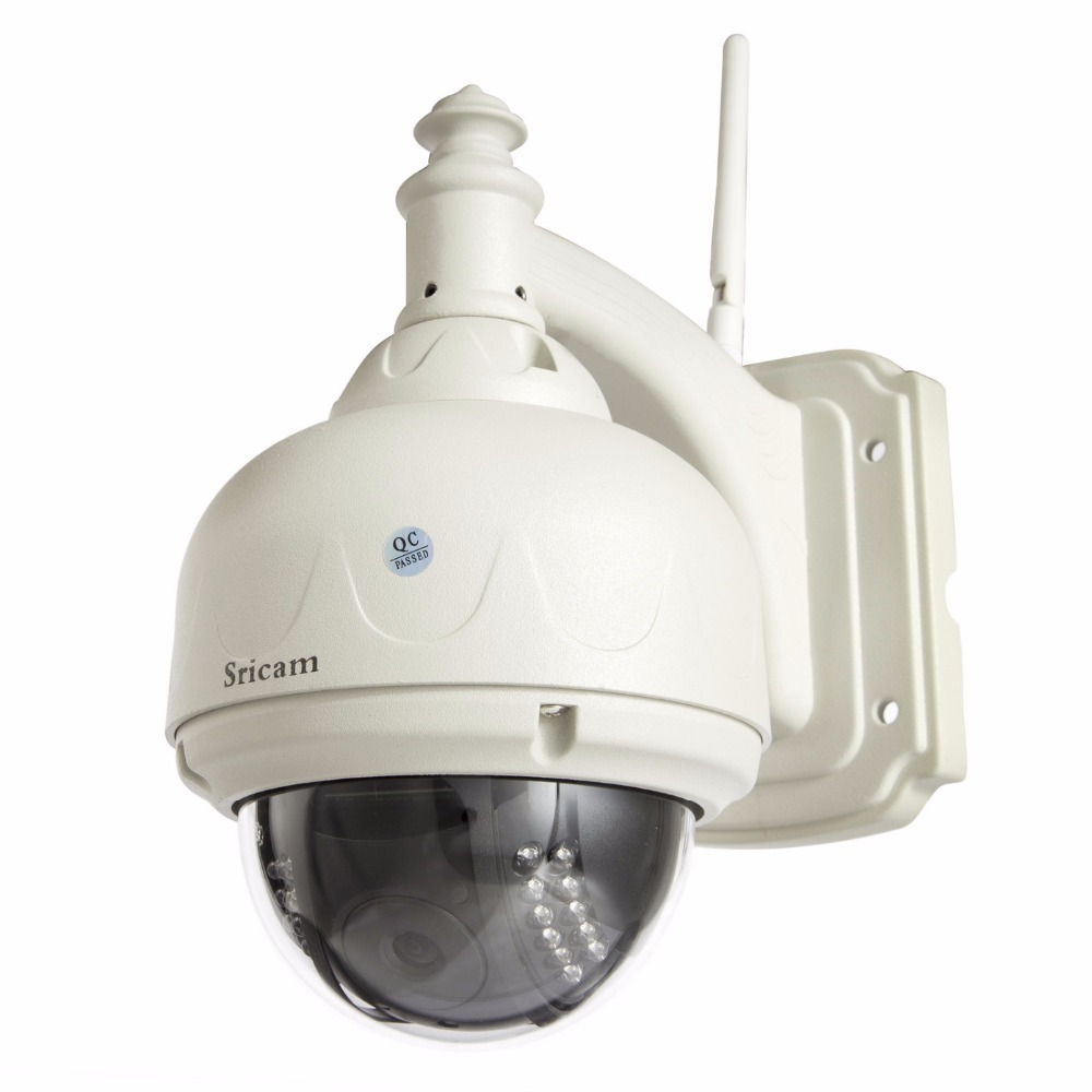 Sricam H.264 HD IR Cut plug&play outdoor waterproof ip camera 720p Pan Tilt wifi CCTV security dome camera wireless sricam hd p2p h 264 1 0mp ptz ip wireless wifi outdoor camera 720p night vision 15m ir cut cctv camera waterproof dome camera
