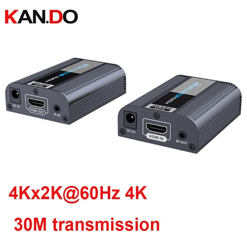 4k 60Hz Ultra HD HDMI 2.0 Extender Up 30M CAT6/6A/7 HDMI Extend 4Kx2K@60Hz 4K Hdmi Sender HD Video Transmitter IR Passback Remot