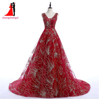 High Quality V Neck Ball Gown Prom Dress Red Prom Dresses 2018 Plus Size Evening Gown