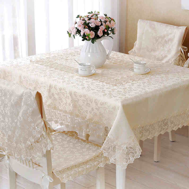 Home Decor Outdoor Hotel Wedding Banquet Table Cover European Fine Yarn Embroidery Lace Tablecloth - NYYBXFKDD Store store