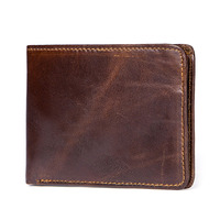Factory Outlet Practical Fashion Men's Genuine Leather Wallet Casual Vintage Short Soft Sided Cowhide Men's Coin Purse