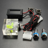 LED Thermometer 3 Way FlowMeter For Water Liquid Cooling System With 2 Barbs
