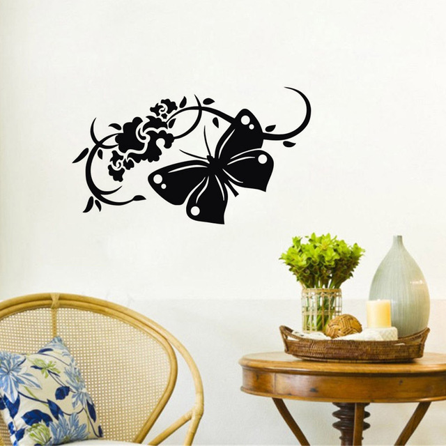 Home Decoration Flower Wall Stickers Butterfly Vinyl Removable Wall ...