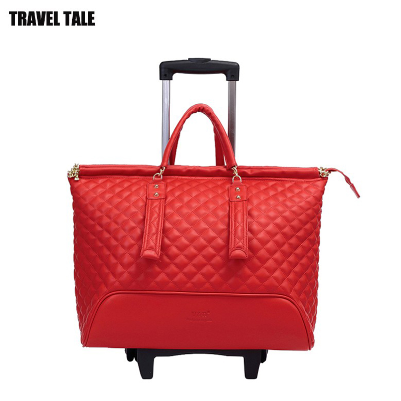 travel tale women 16 inch Carry Bag Hand Luggage For traveling leather traveling bag on wheels