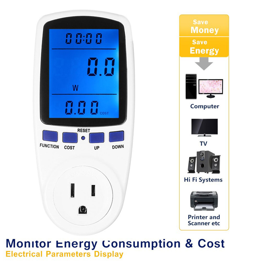Digital Energy Meter Voltage Wattage Current Monitor Watt Checker Saving Power Electricity Socket Analyzer Electronic Switch digital electric power energy meter tester monitor watt meter analyzer energy saving lamps tester hp9800 digital voltage meter