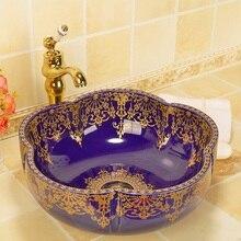 Золотой узор в форме цветка фарфоровая ванная комната раковина для ванной комнаты столешница круглая раковина для ванной комнаты умывальник синий