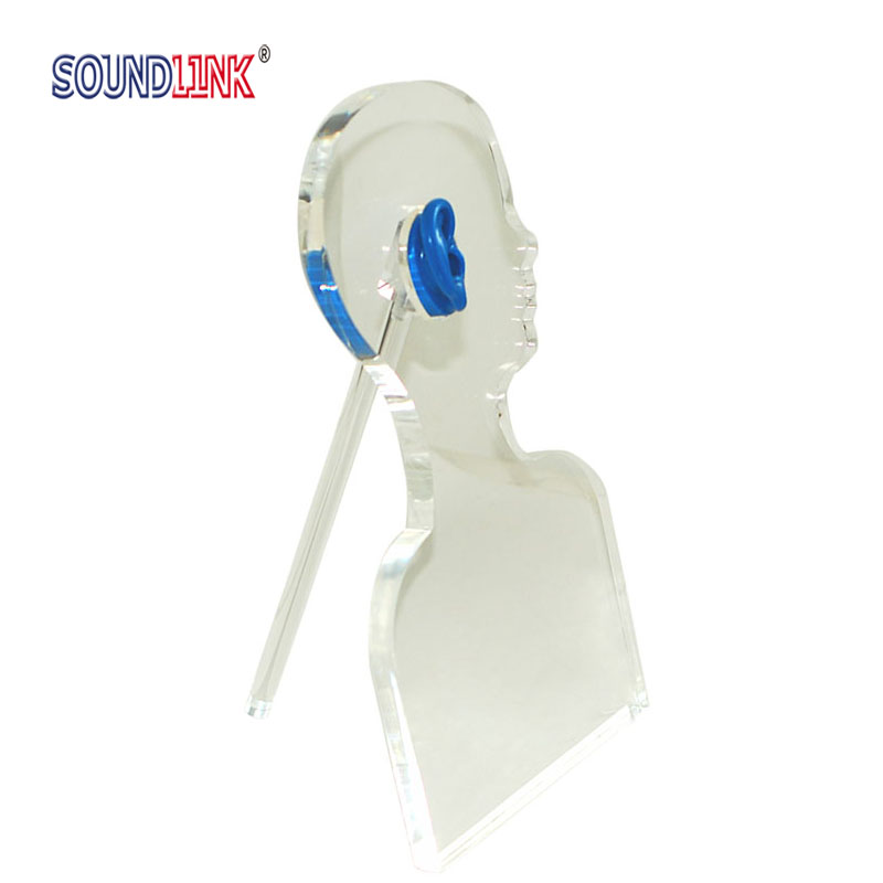 Hearing Aid Acrylic Display Demonstrate BTE, ITE, ITC And CIC Hearing Aids Head Shaped medical hearing aids stethoscope with couple testing bte ite itc cic hearing aids
