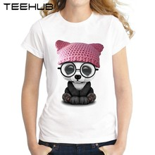 Cute Baby Panda Wearing Pussy Hat Print T Shirt Harajuku Tiger/ Lion/ Giraffe T-Shirt Women Casual TShirt Bunny Rabbit Shirts(China)