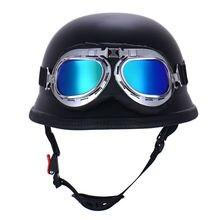 Women Men Motorcycle Half Helmet With Motorbike Protective Goggles German Style Casque Cruiser Helmet