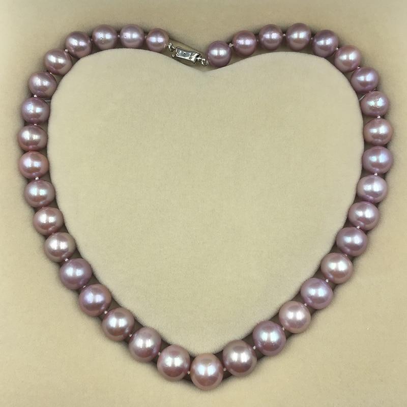 Classique 45 cm 11-13mm Grand Violet Ronde Edison perles strand collier ras du cou chaîne pour femmes Maman Amant lustre élevé fine jewelry