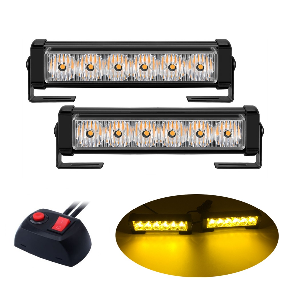 2x4/2x6 LED Ambulance Police Strobe Light Car Truck Grille DRL Emergency Flashing Lamp Auto LED Warning Signal Light 12V