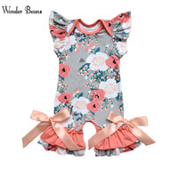 Для маленьких девочек Одежда для новорожденных Цветочные Детские комбинезоны Летняя Одежда для девочек PlayToday для дня рождения Onesie детские ...