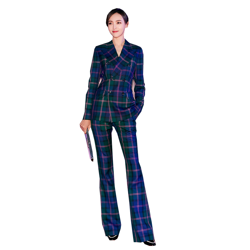 Celebrity Women Runway Stylish Designing Plaid Blazer Suits Flare Pants European Fashion Two-piece Sets Quality Twins Sets