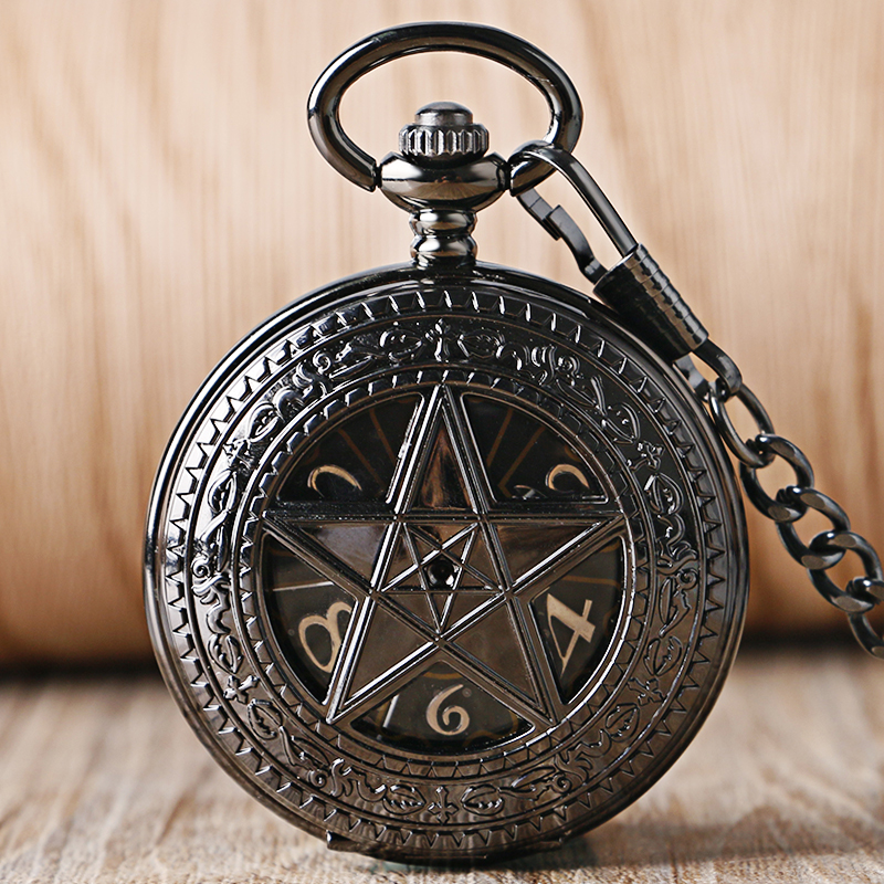 Classical Black Hollow Carving Crown Skeleton Pocket Watch Antique Fob Watch For Men Ladies With Chain