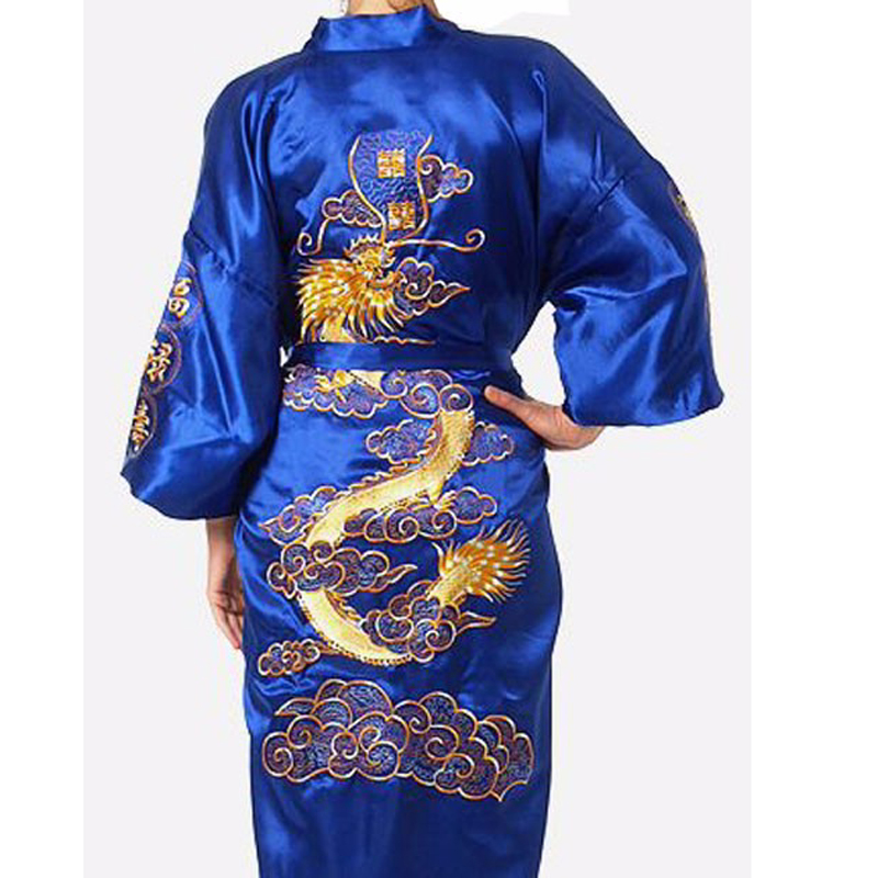 Hot Sale Jewelblue Chinese Men's Satin Silk Embroidery Robe Kimono Bath Gown Dragon Nightwear Size S M L XL XXL XXXL 011019