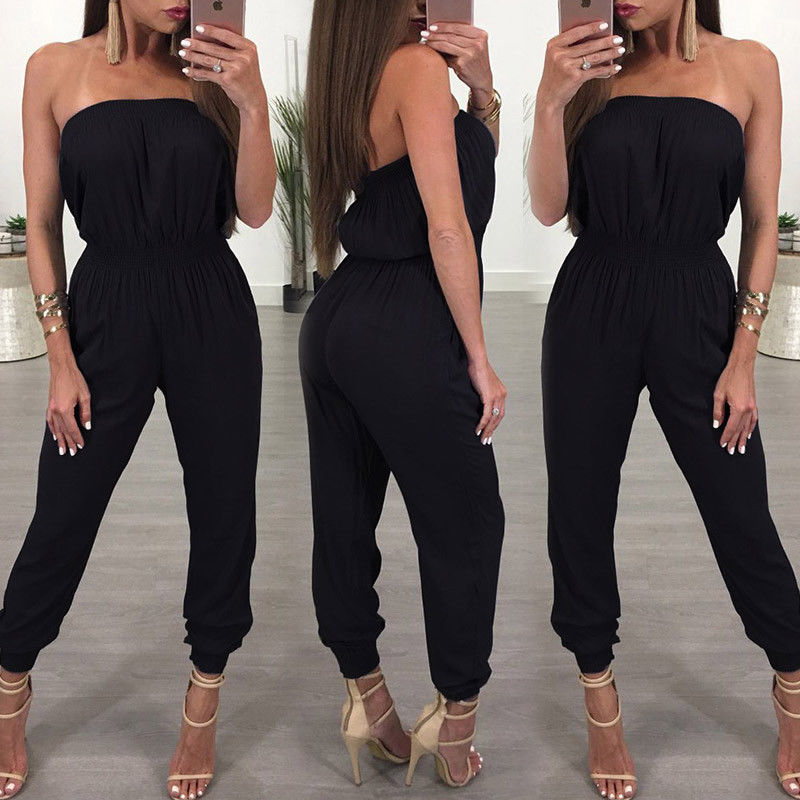 Women Ladies Clubwear V Neck Playsuit Bodycon Party Jumpsuit Romper Trousers