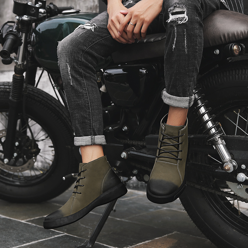 Armée Bottes Split Hiver De fur Hommes Cuir Chaussures Moto Courtes armygreen black Male Militaire Black Casual Boot fur En Travail Martins Vache Doc Sneaker armygreen Imperméables w6qqtT
