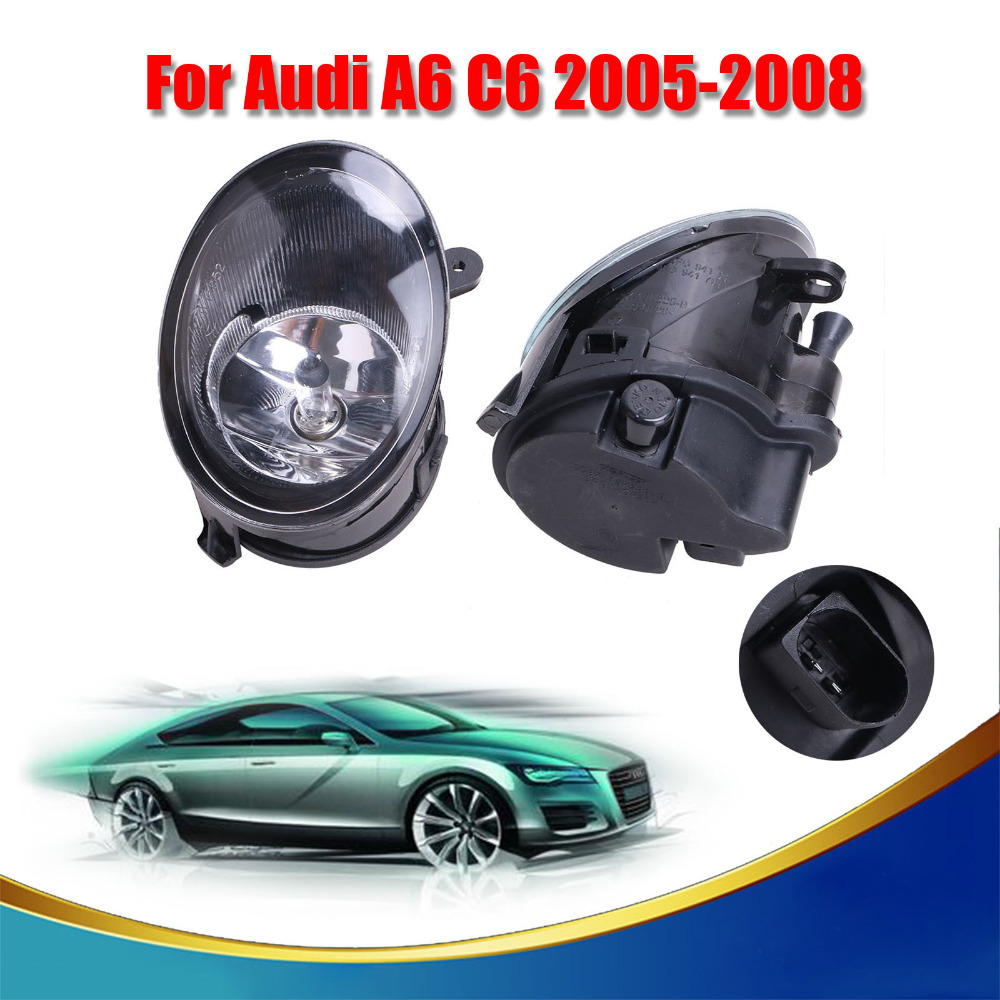 2x Car Front Bumper Fog Driving Light Fog Lamp with Bulbls H7 For AUDI A6 C6 2005 2006 2007 2008 #9312 free shipping for vw polo 2005 2006 2007 2008 new front left side halogen fog light fog light with bulb