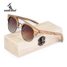 BOBO BIRD hombres gafas de sol polarizadas gafas de sol de madera mujeres polarizadas Retro UV400 Vintage gafas en Caja de regalo de madera W-DG15b