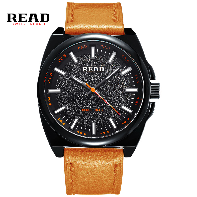 READ men watch Luxury Genuine Calf Leather ultrathin Watches Business And Casual Quartz Wristwatch 2061 time2u mens formal business ultrathin quartz watch wristwatch with classic design