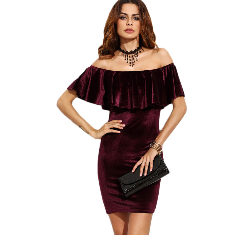 COLROVIE Ruffle Off The Shoulder Velvet Bodycon Dress Sexy Women Short Sleeve Club Wear Mini Dress Burgundy Party Winter Dress 7