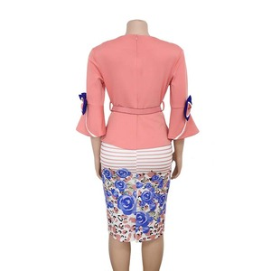 Image 5 - בגדים אפריקאים אלגנטי התלקחות שרוול Bodycon שמלת נשים 2019 צווארון V קשת מודפס חגורת עיפרון שמלה באיכות גבוהה משרד ליידי XXXL