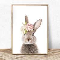 Nursery Wall Art Girls Bedroom Decor Bunny Rabbit Print Animal Watercolour Flower Pink Rose Canvas Painting Kids Room Decoration