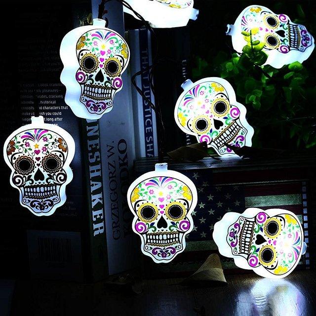 Desarrollado 10 Batería LED Luces de Cadena, Blanca de la Bandera Pirata de hadas Decorativas Luces para Decoraciones De Halloween