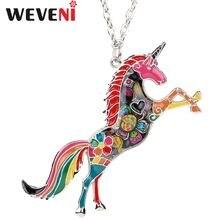 Weveni оригинальный эмаль Единорог Лошадь колье подвески со