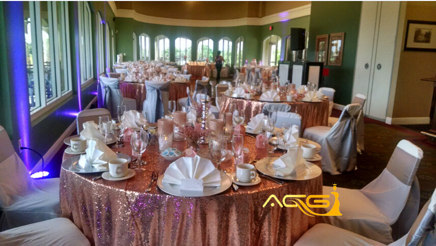 Aliexpress Shidianyi 120 Round Rose Gold Sequin Table Cloth Cake For Wedding Decoration From Reliable Suppliers On