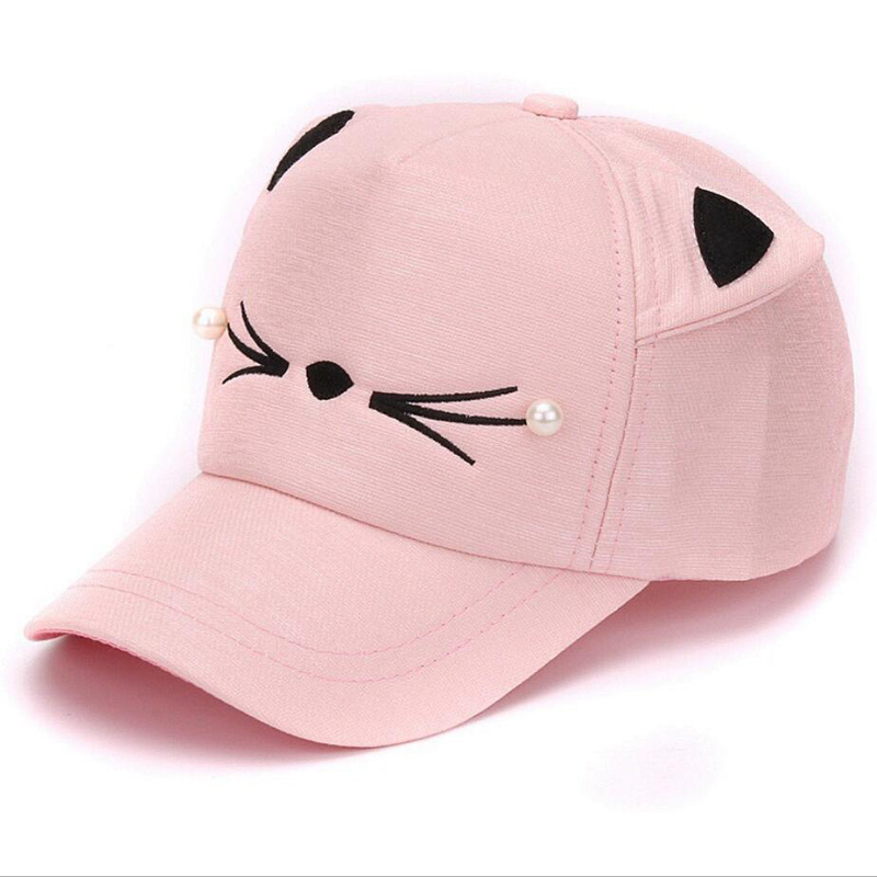 e10db5b7163 Detail Feedback Questions about Summer Brand Children Net Cap Adjustable  Cute Embroidered Hat cat Ears Snapback Cap Boy Hip Hop Hat Girl Pearl  Baseball on ...