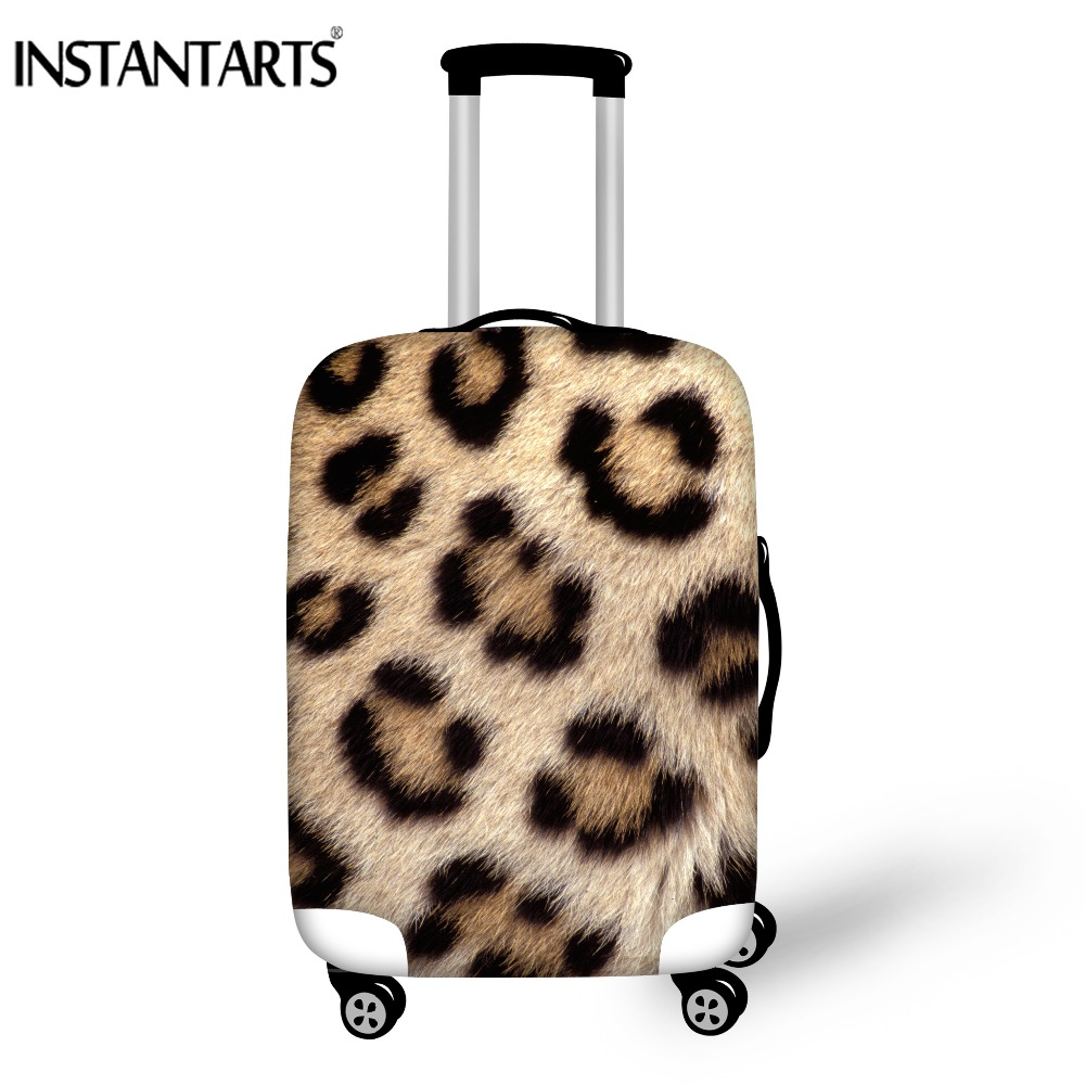 INSTANTARTS Leopard Print Travel Protective Suitcase Covers Waterproof Rain Case Bag Cover Dust Trolley Case Cover for 18-30inch