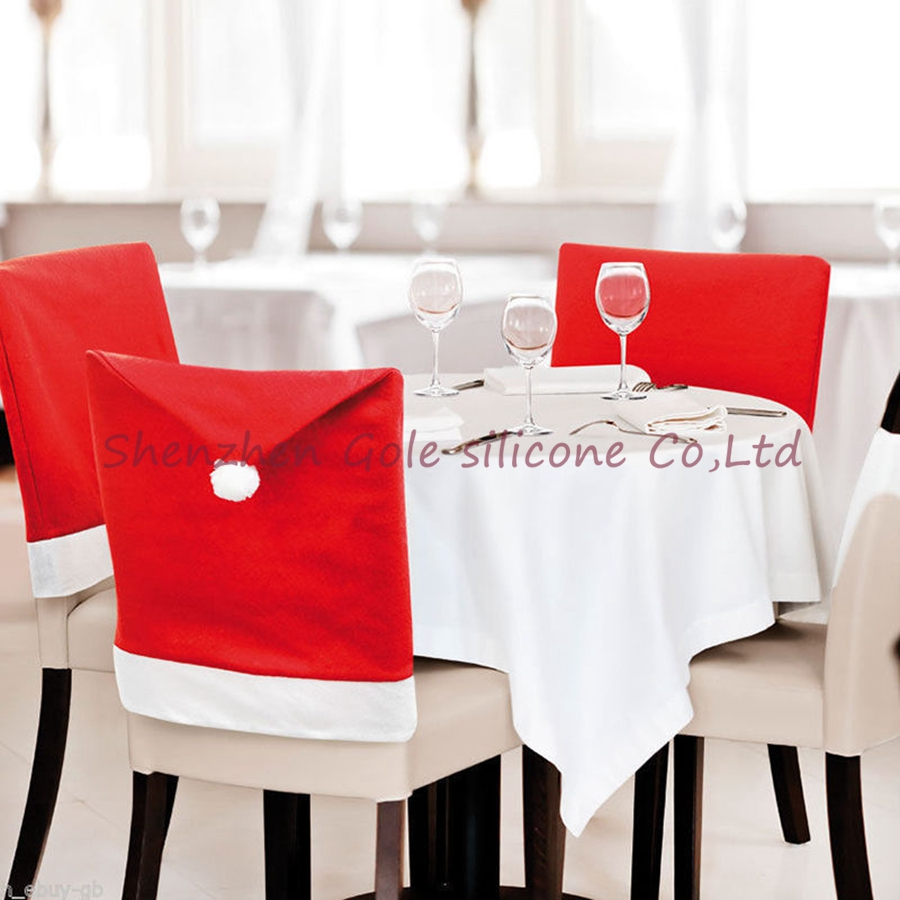 240pcs Christmas Chair Covers Santa Clause Red Hat For Dinner Decor Home Decorations Ornaments Supplies Freeshipping Wholesale