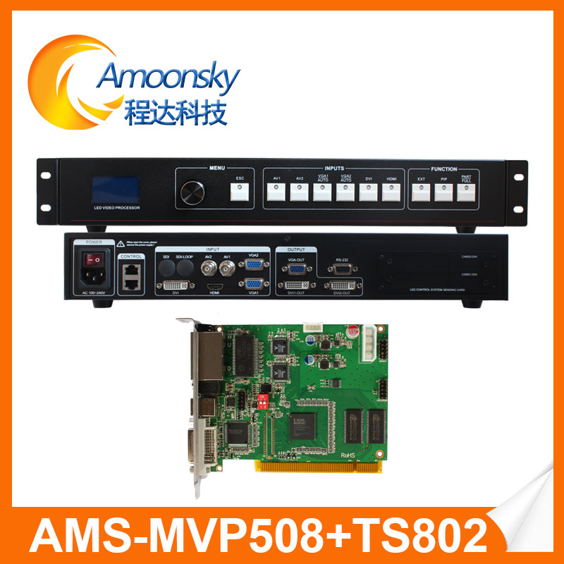 Buona qualità ams mvp508 led processore video display con 1 pz linsn ts802d carta di invio per dot matrix led display