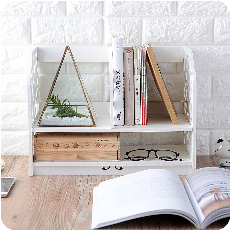 Storage Holder Home Decoration Wood Wall Shelf Racks Desktop Storage Organising Shelf Small Bookshelf Cosmetic Storage Racks Box shelf