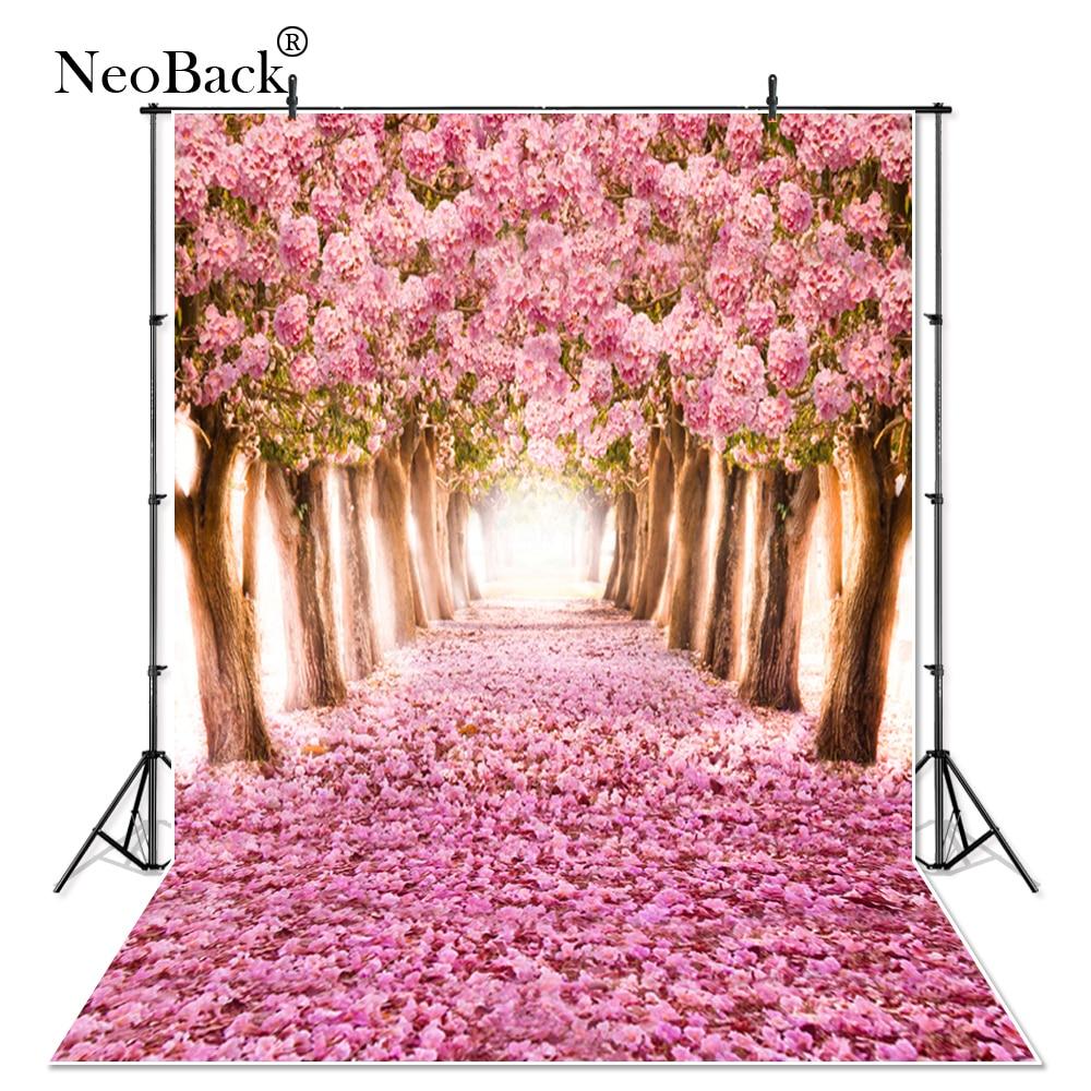 NeoBack tanek vinil roza cvetlični novo rojeni otroci cvet foto ozadja natisnjen cvetlični pogled na park fotografsko ozadje P0010