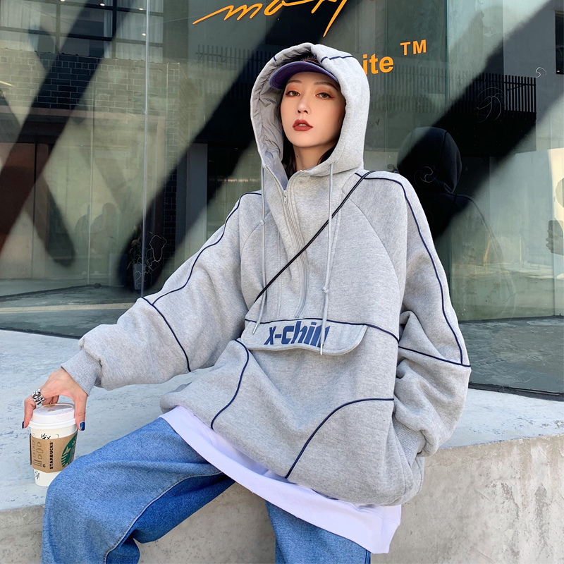 Thenew summer and winter 2018 European and American loose and thick zipper hooded hooded hooded sweatshirt for women