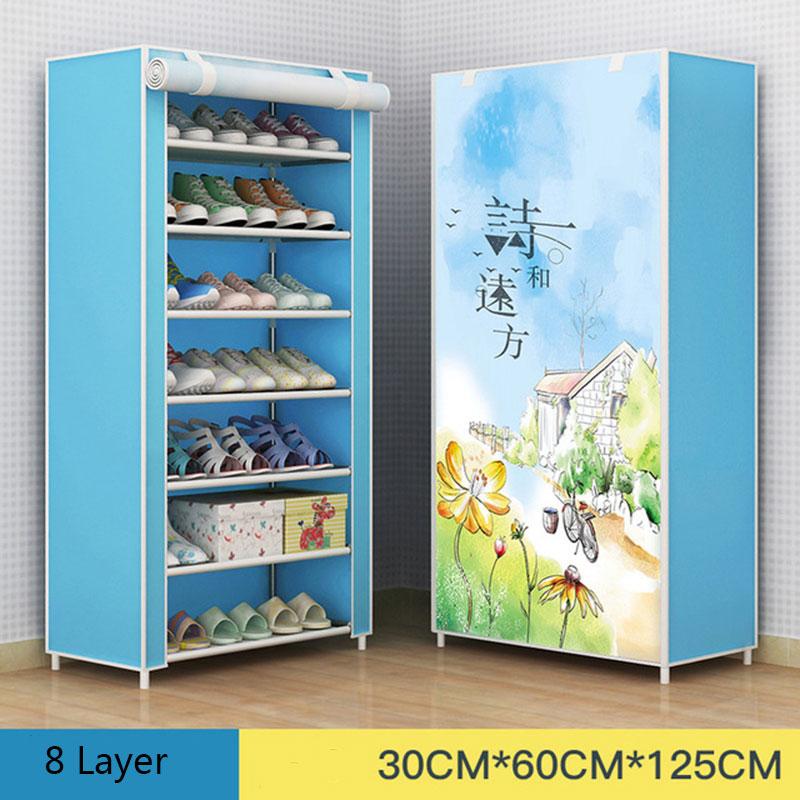 Multi-layer DIY Combination Dust-proof Cloth Shoe Cabinet Folding Fabric Shoes Rack Organizer Simple Shoe Storage Cabinet 4