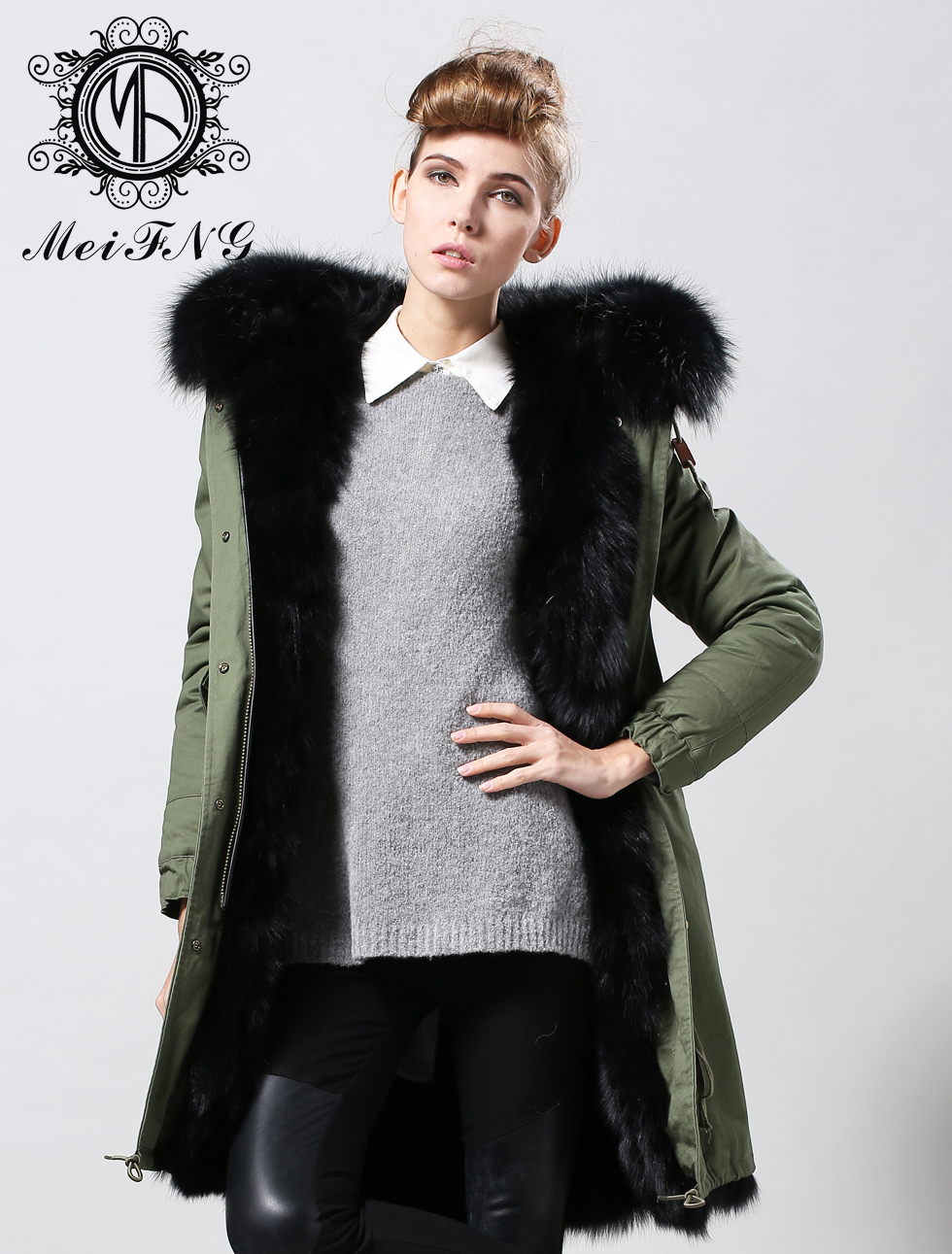 Winter fashion parka with real fox fur coat in black fur color, green/navy/black/yellow parka for men or woman